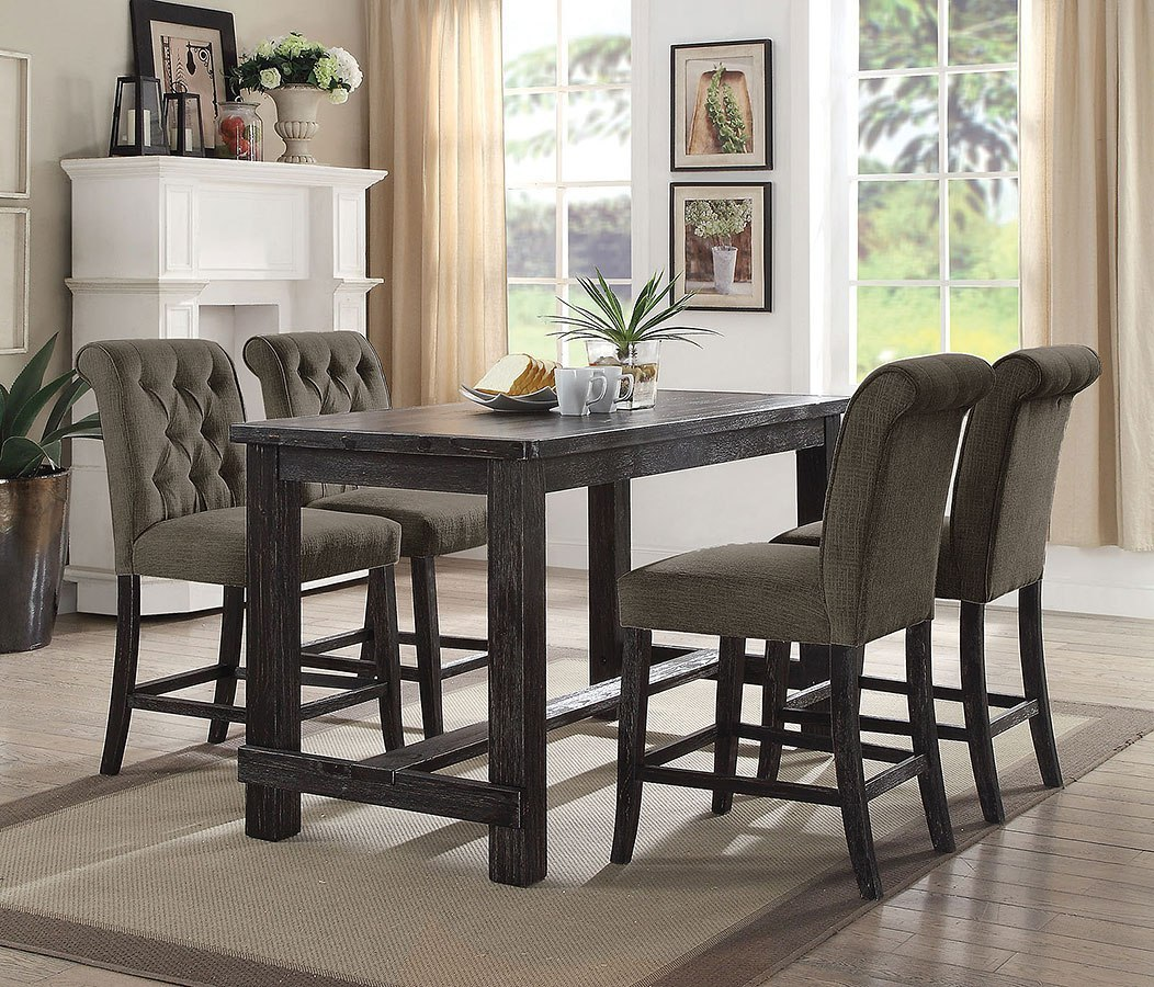 Sania Iii Counter Height Rectangular Dining Set W Gray