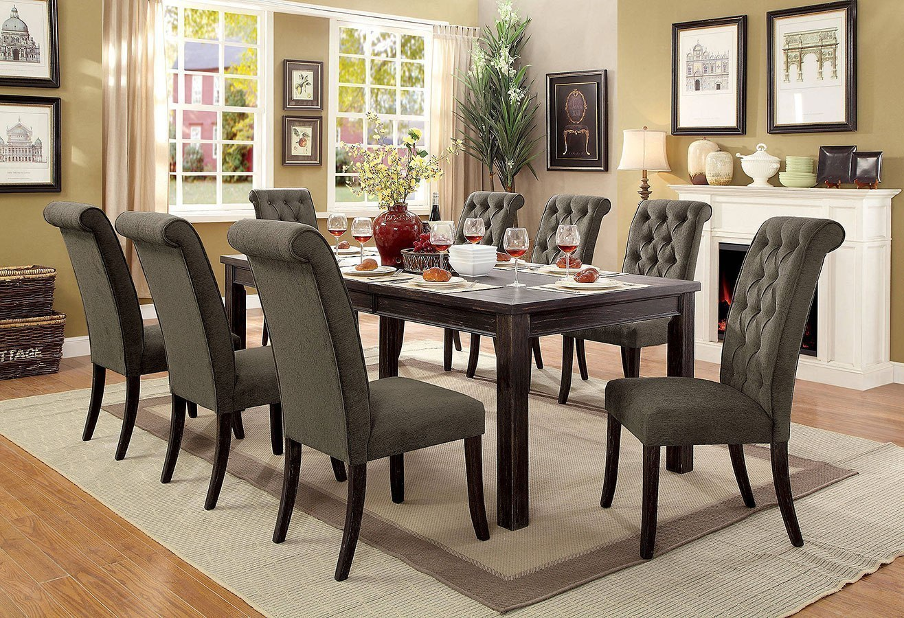 84 inch dining table dining room sania iii 84inch dining room set w gray chairs and