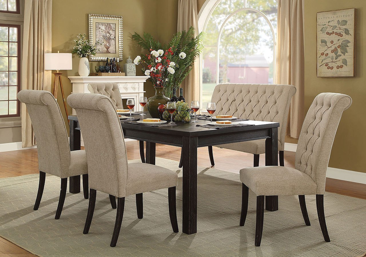 Marvelous Sania Iii 72 Inch Dining Room Set W Beige Chairs And Bench Pabps2019 Chair Design Images Pabps2019Com