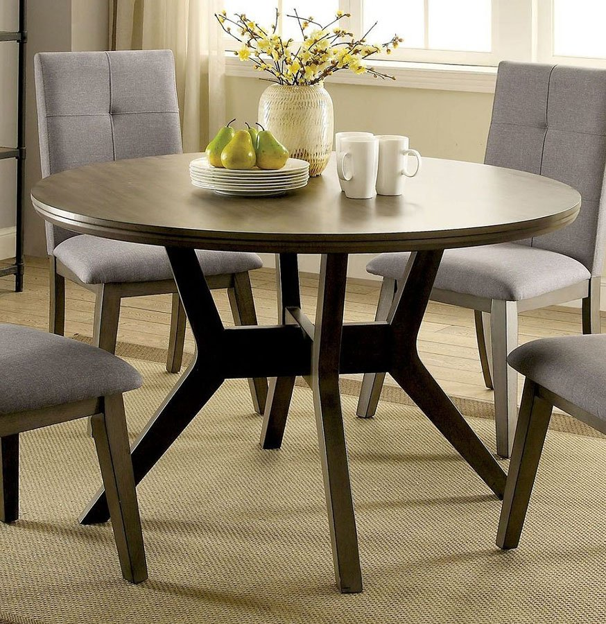 Abelone Round Dining Table (Gray) by Furniture of America ...