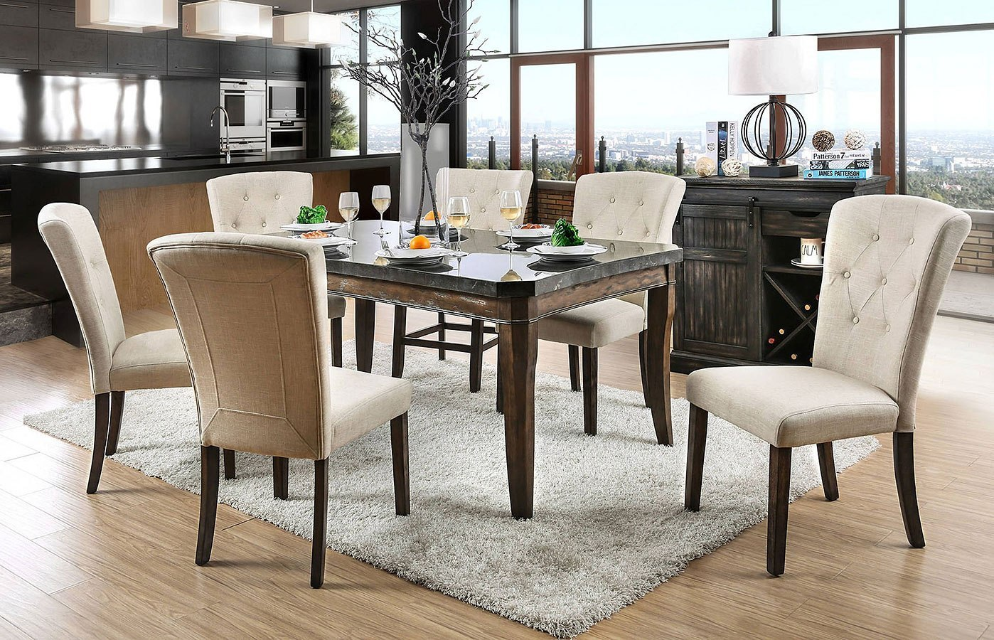 Schoten Dining Room Set W/ Ivory Chairs