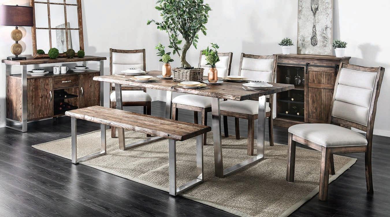 Mandy Dining Room Set W Bench Oak