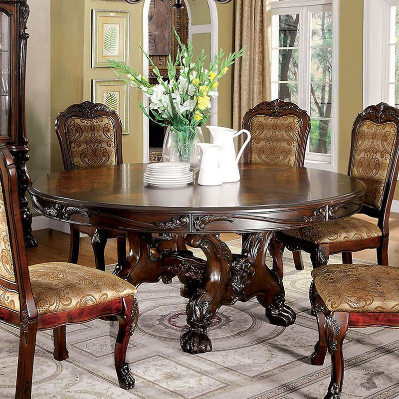 Medieve Round Dining Table (Cherry) By Furniture Of America