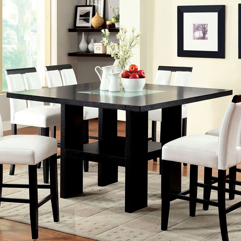 Dining Room Bar Kitchen Furniture: Luminar II Counter Height Table W/ LED Lights (Black) By