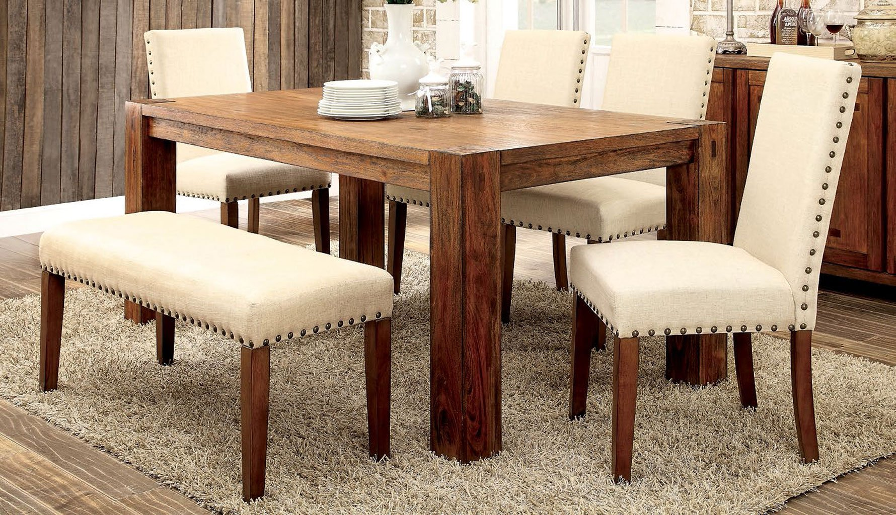 Frontier Dining Room Set W Armous Chairs By Furniture Of America Furniturepick