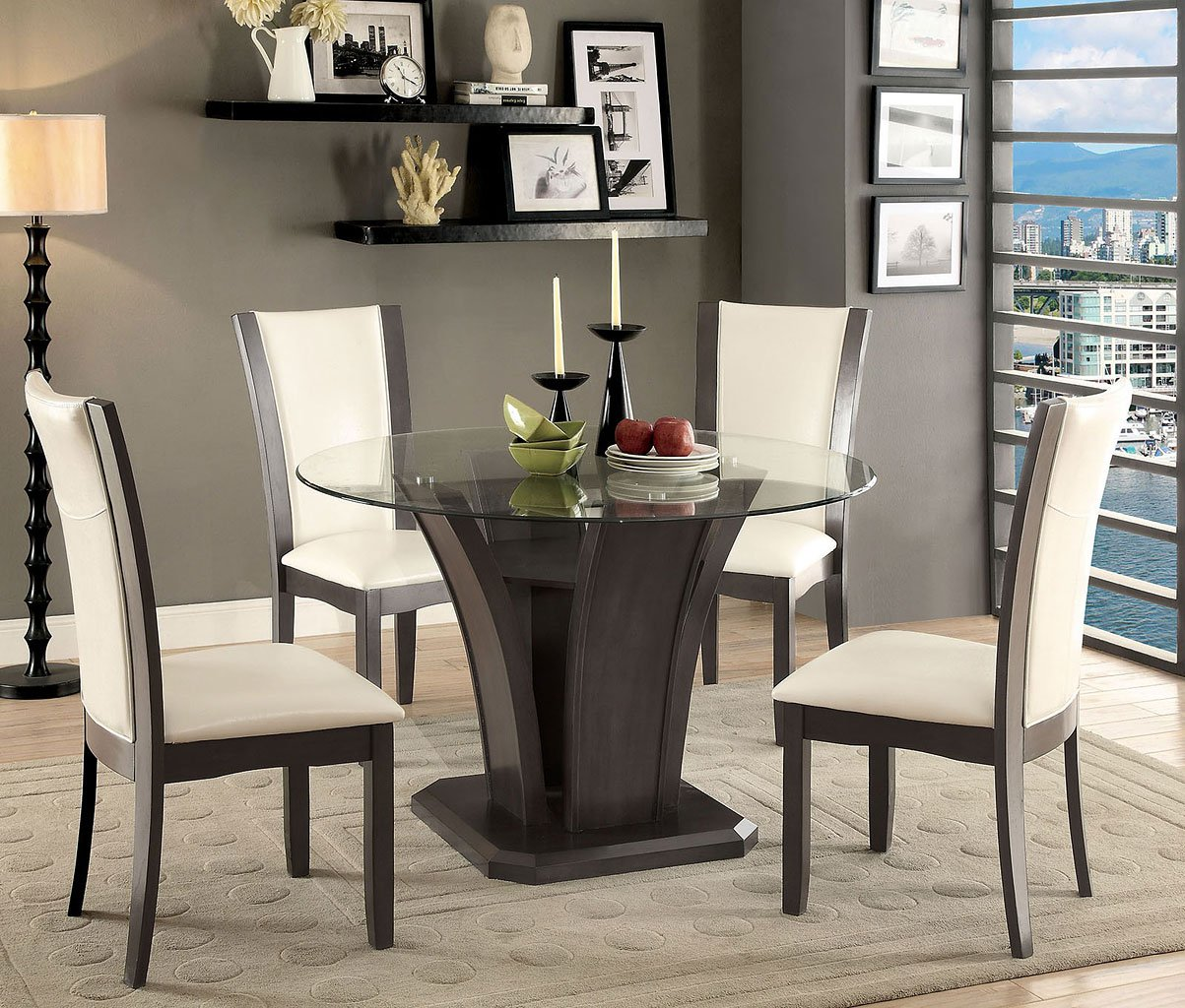 Grey Kitchen Dining Sets: Manhattan I Round Dining Room Set (Gray)