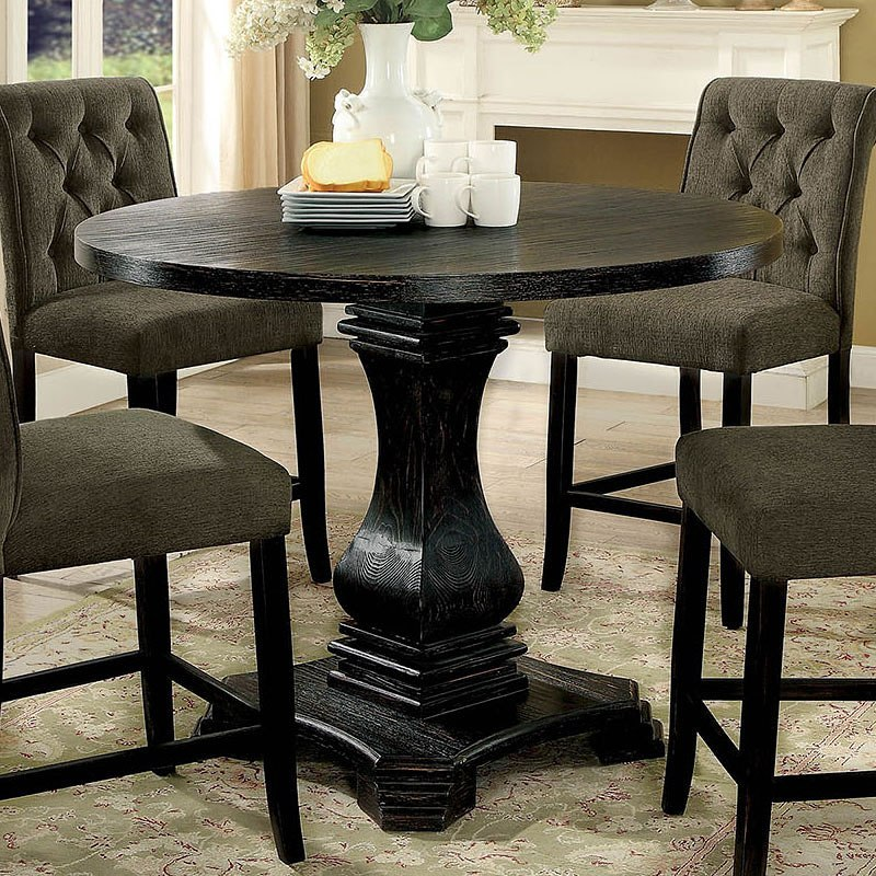 Nerissa Counter Height Dining Set w/ Beige Chairs (Antique ...