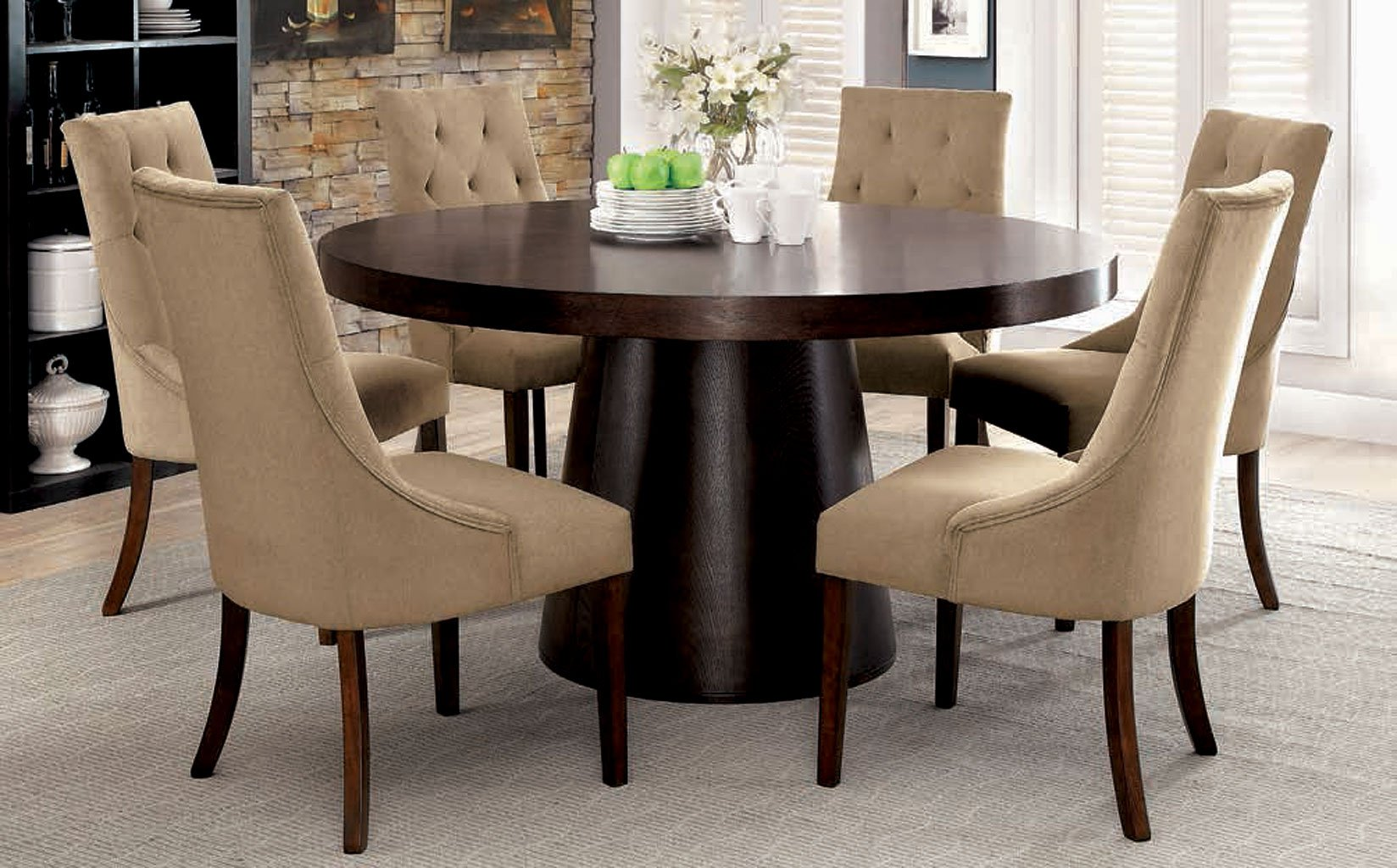 Havana Round Dining Room Set W Light Brown Chairs By