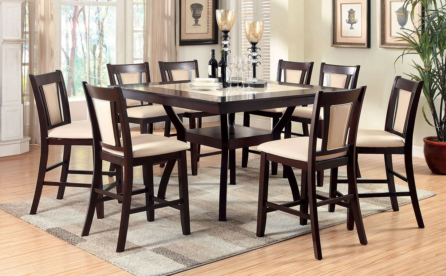 Brent II Counter Height Dining Set W/ Faux Marble Top