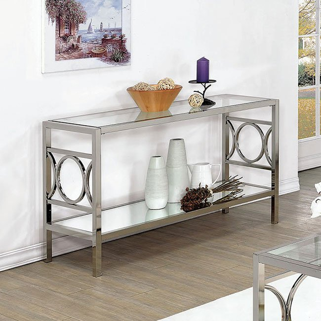 Rylee Sofa Table Chrome Sofa Tables Occasional And Accent Furniture Living Room
