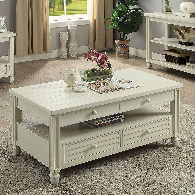 Suzette Lift Top Coffee Table (Antique White)
