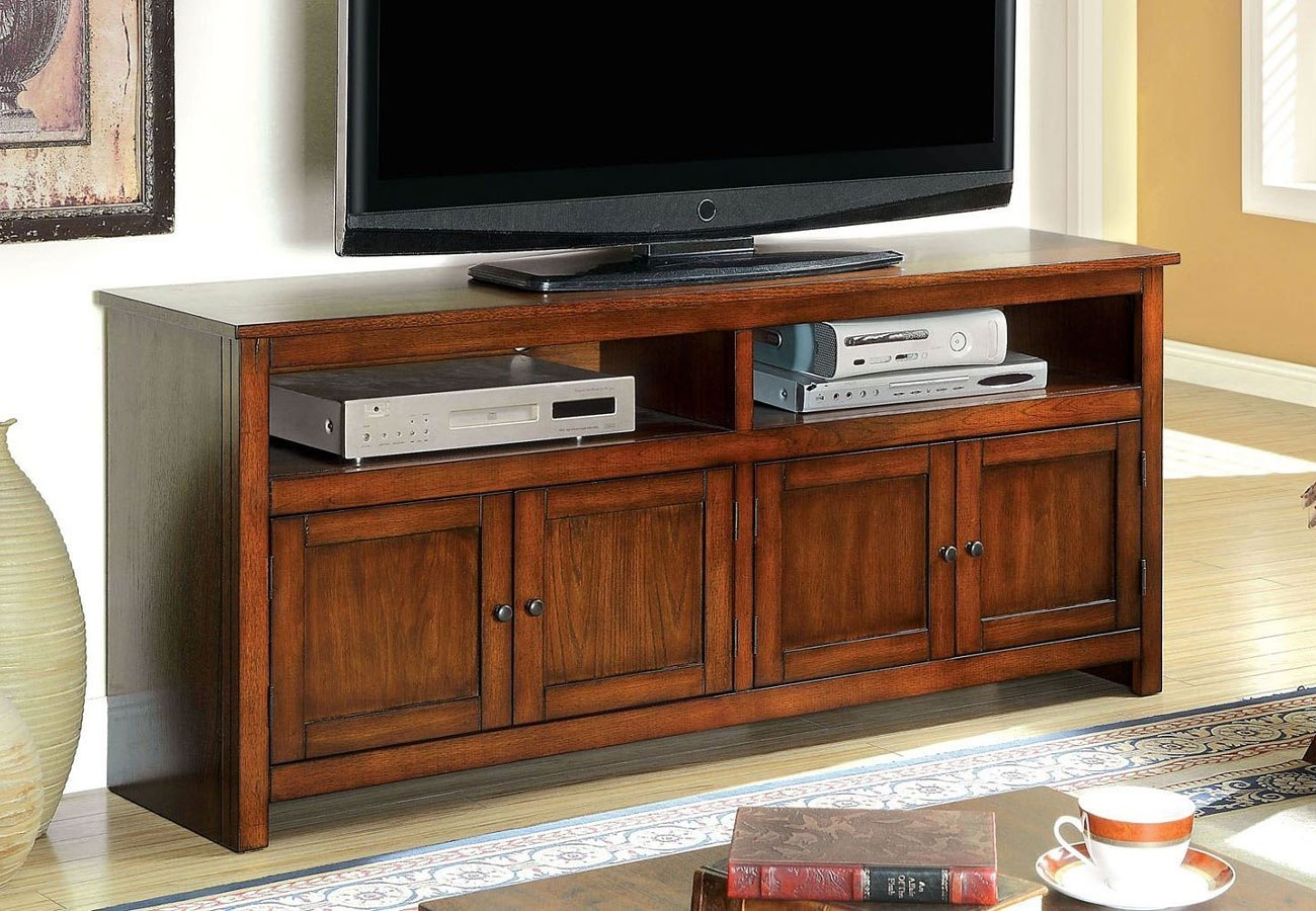 Regent 60 Inch Tv Console Antique Oak By Furniture Of America Furniturepick