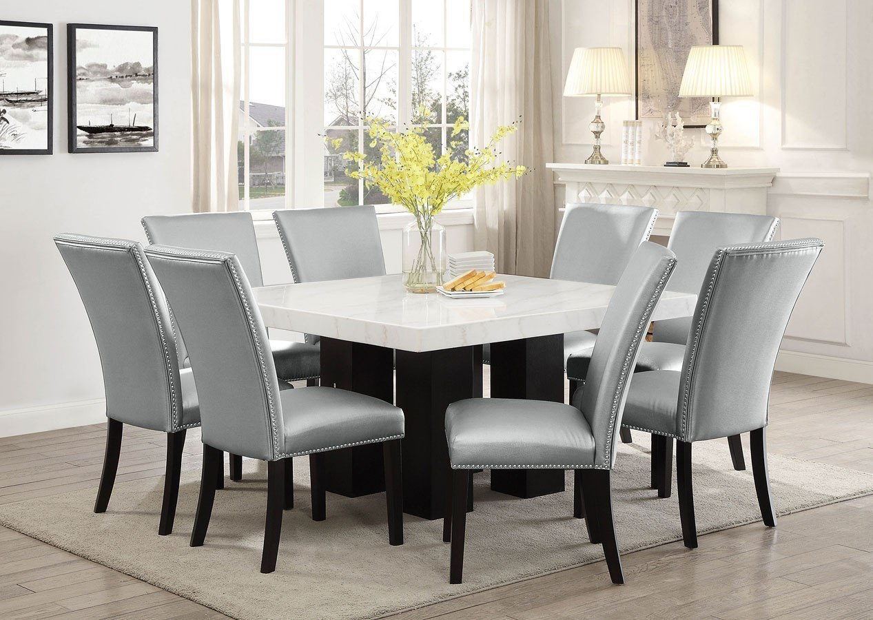 Camila Square Dining Room Set w/ Silver PU Chairs