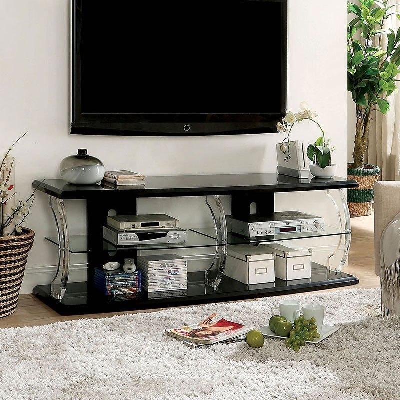 Ernst 60 Inch Tv Stand W Led Lights Black By Furniture Of America