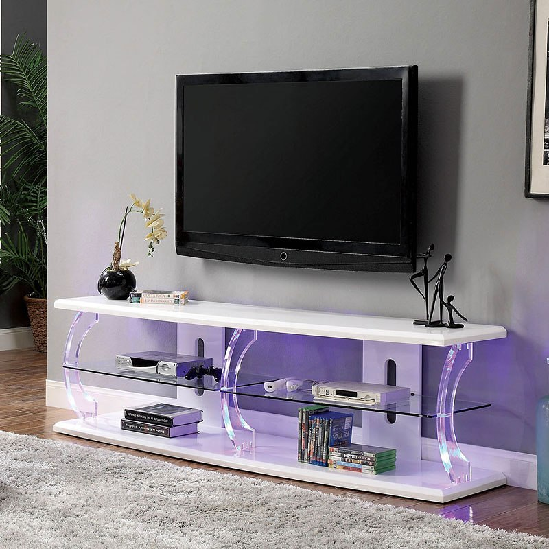 Ernst 60 Inch Tv Stand W Led Lights White By Furniture Of America