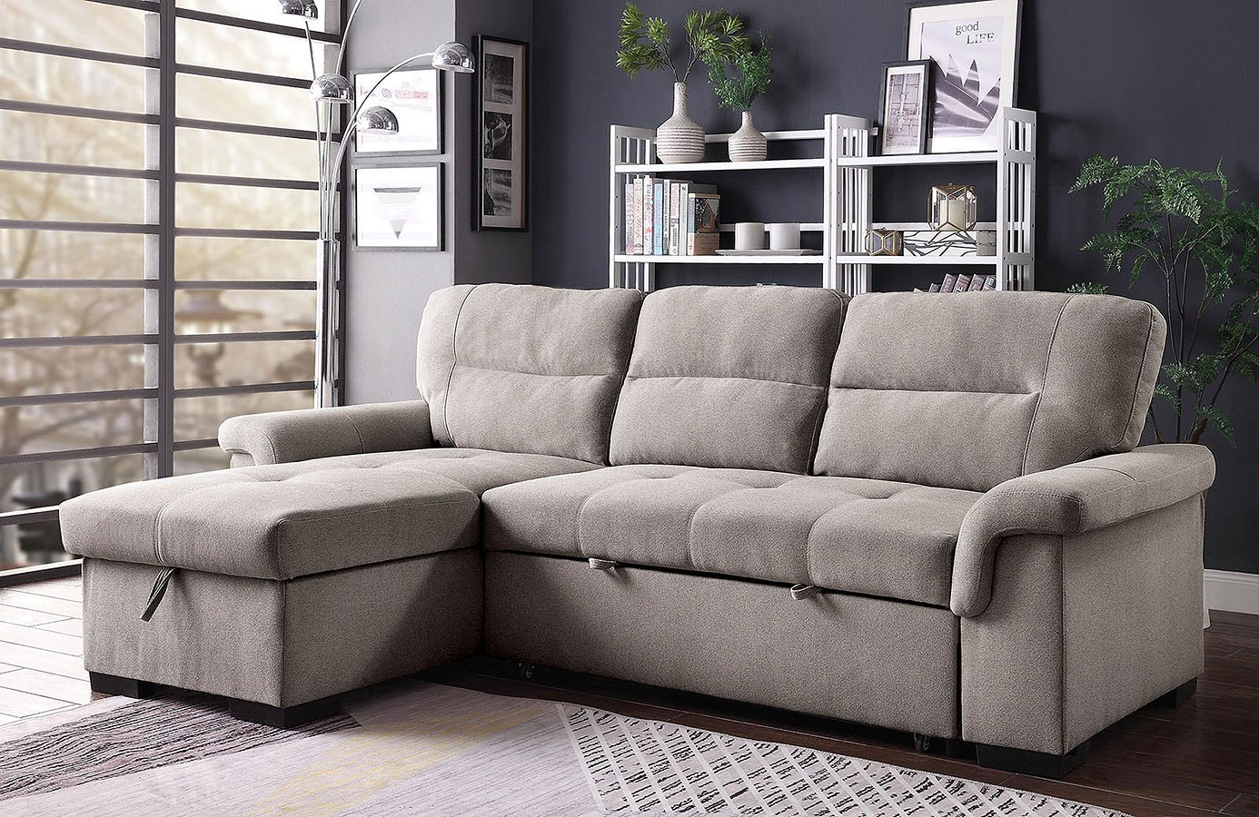 Anabel Sectional w/ Pull Out Bed by Furniture of America ...
