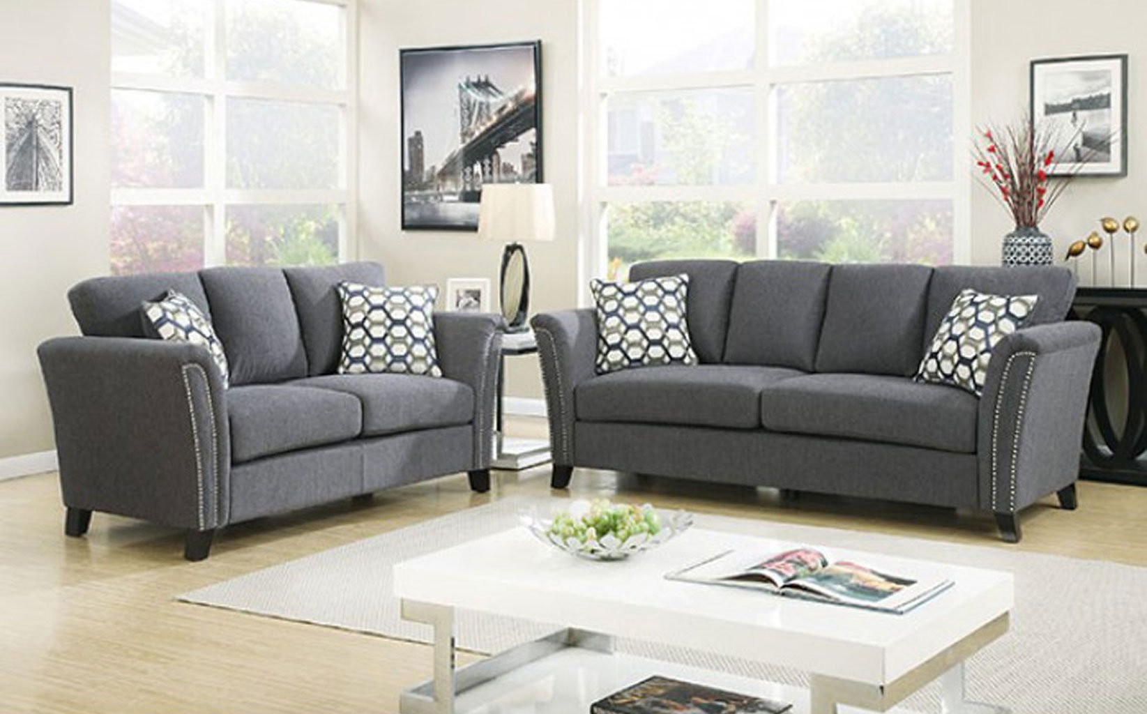 Campbell Living Room Set Dark Gray By Furniture Of