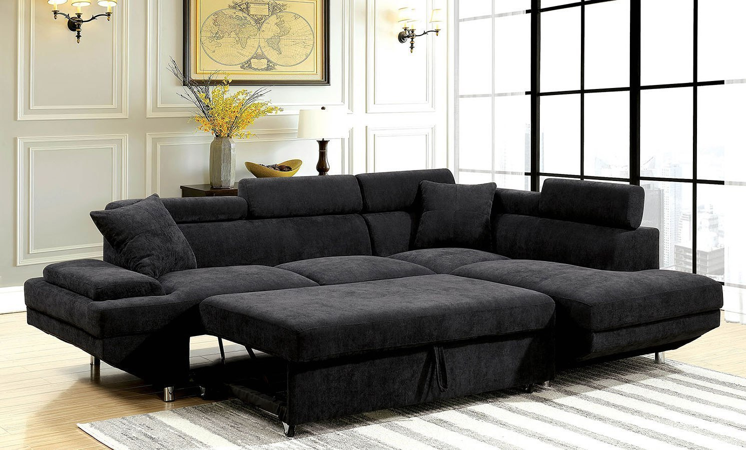 Foreman Right Chaise Sectional W Pull Out Bed Black By