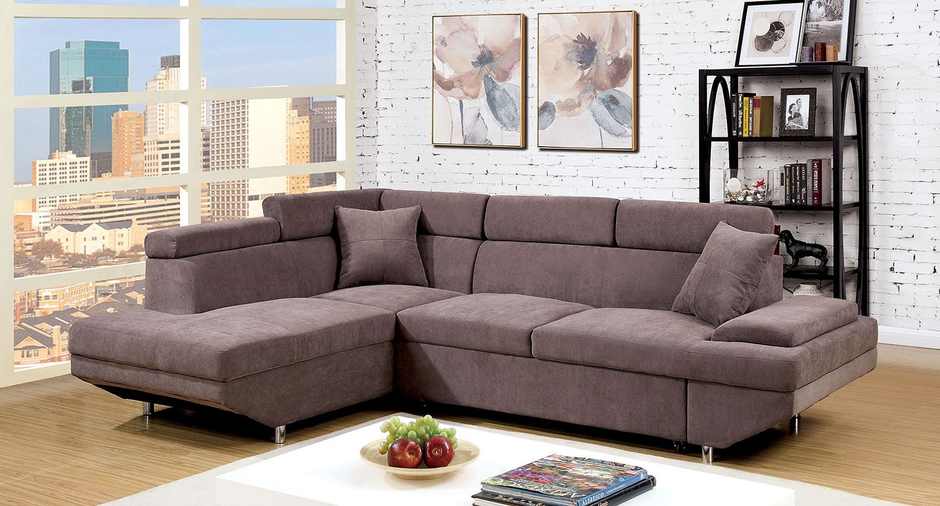 Foreman Sleeper Sectional Brown By Furniture Of America