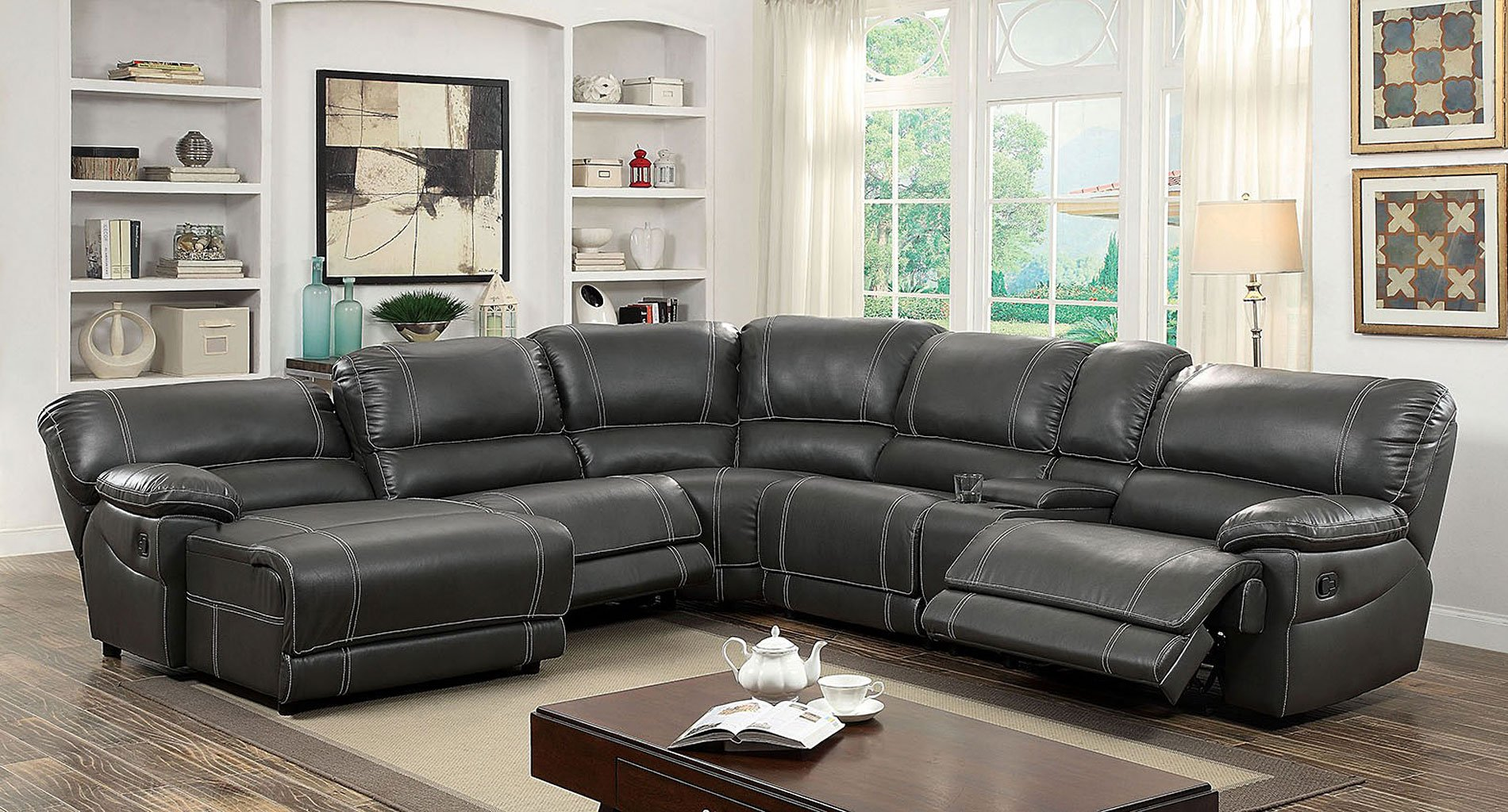 Estrella Reclining Sectional Gray By Furniture Of