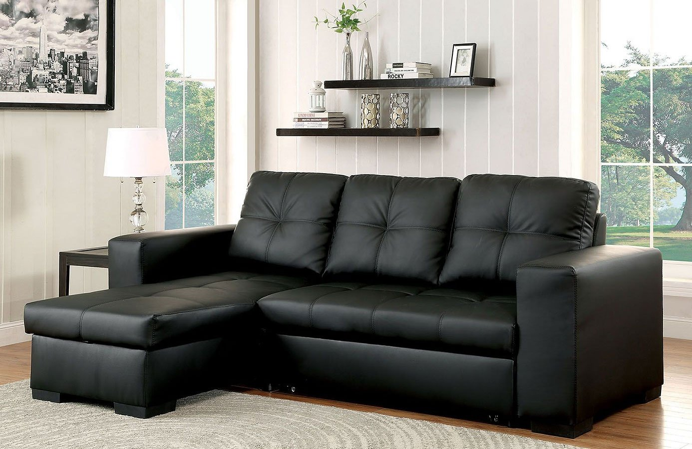 Denton Sectional W Pull Out Sleeper Black