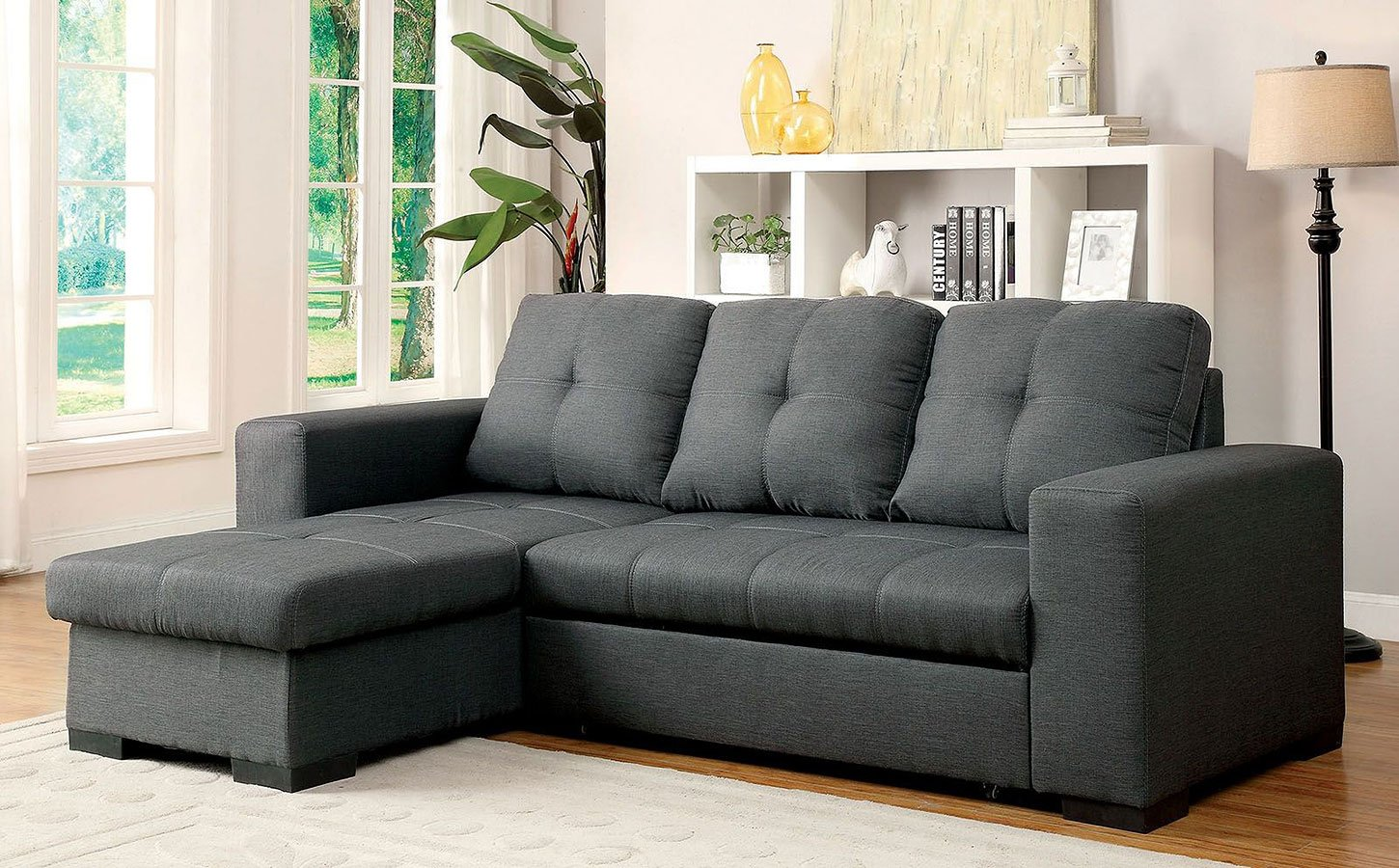 Denton Sectional W Pull Out Sleeper Gray Sectionals