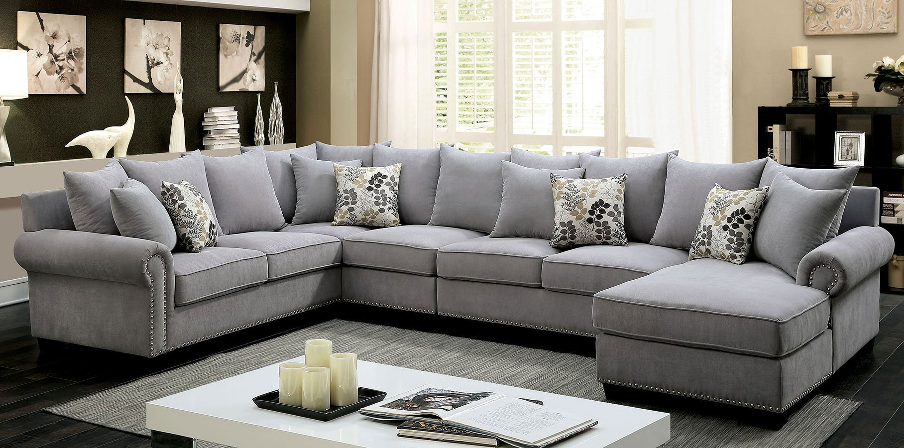 sectional living room sets Skyler Sectional Living Room Set (Gray)   Living Room Furniture  sectional living room sets