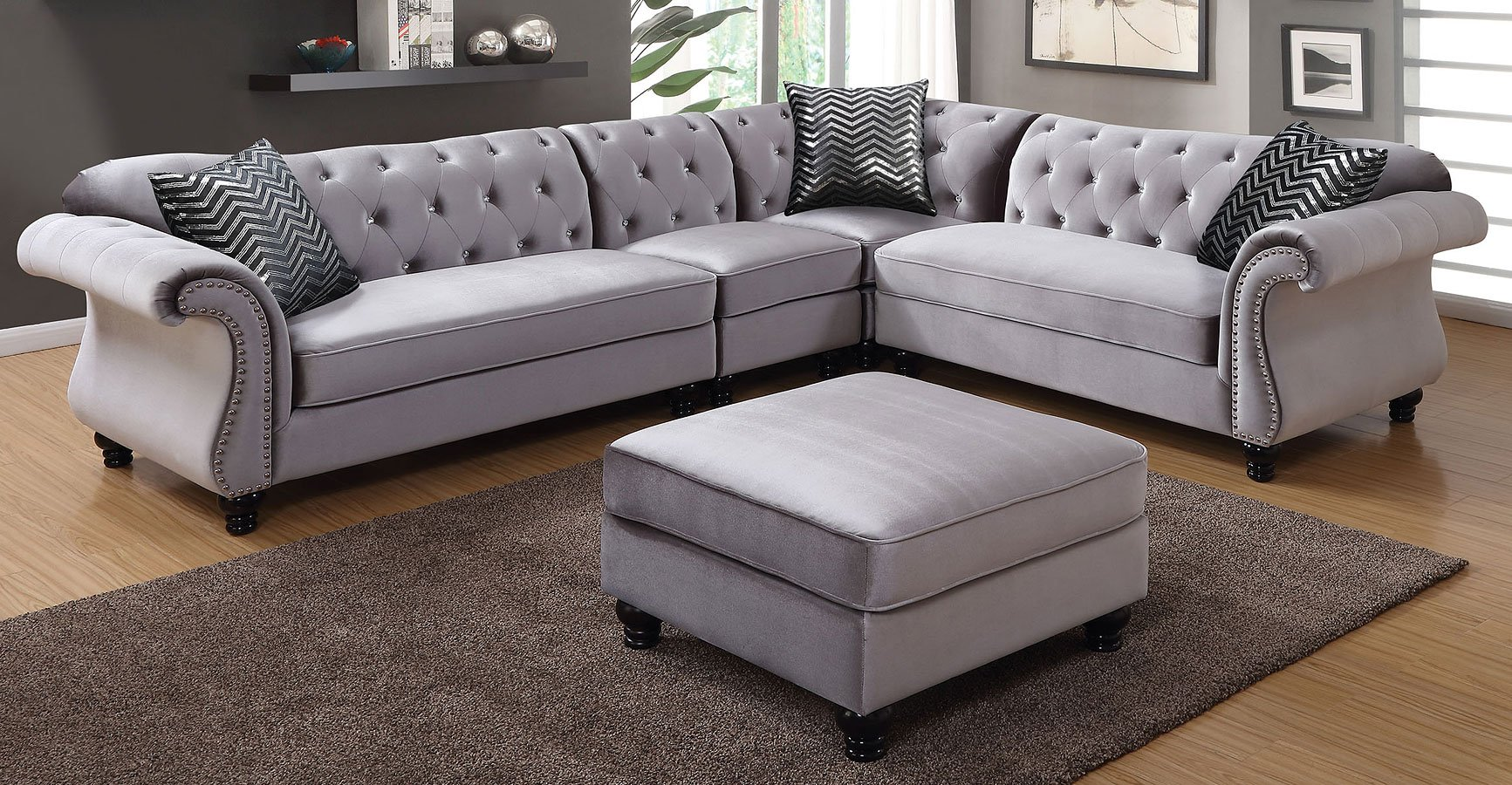 Jolanda Sectional Living Room Set (Gray) Furniture Of
