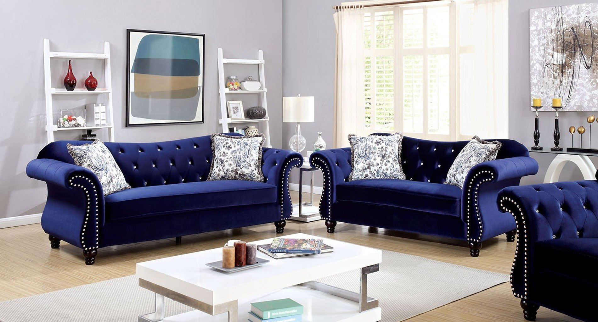 Living Room Furniture: Jolanda Living Room Set (Blue)