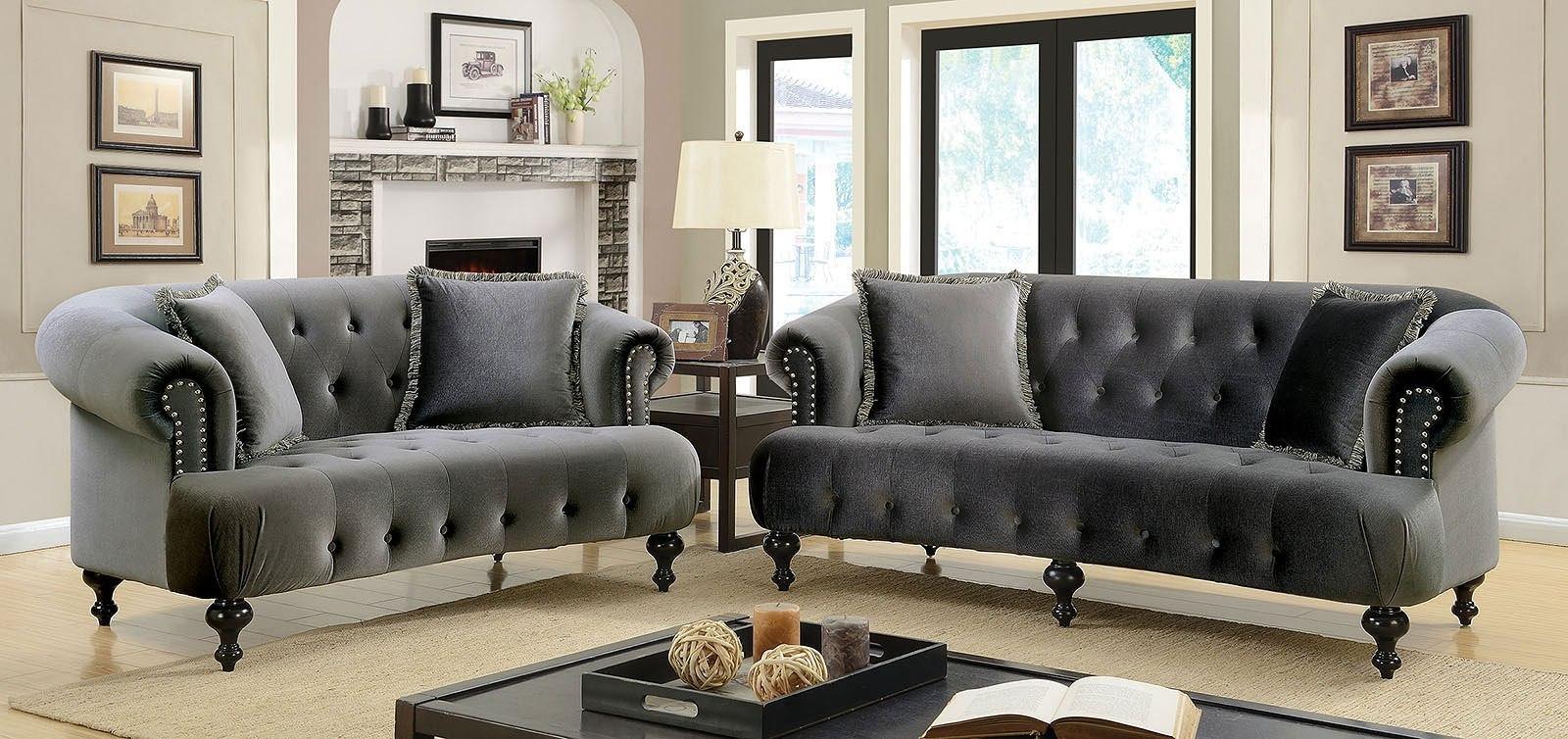 Rayne Living Room Set (Gray) by Furniture of America   FurniturePick