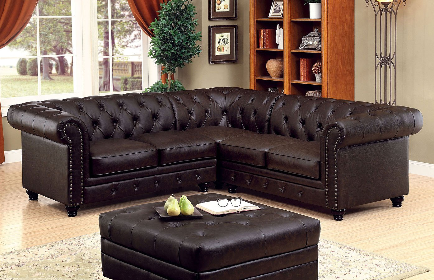Stanford Sectional Living Room Set (Brown) by Furniture of America ...