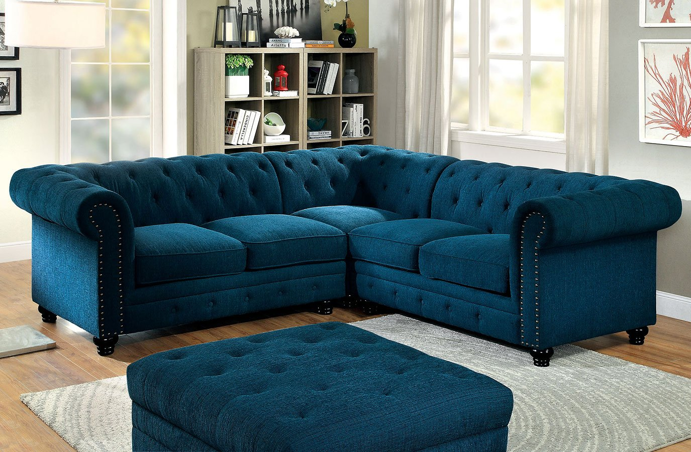 sectional living room sets Stanford Sectional Living Room Set (Teal)   Living Room Furniture  sectional living room sets