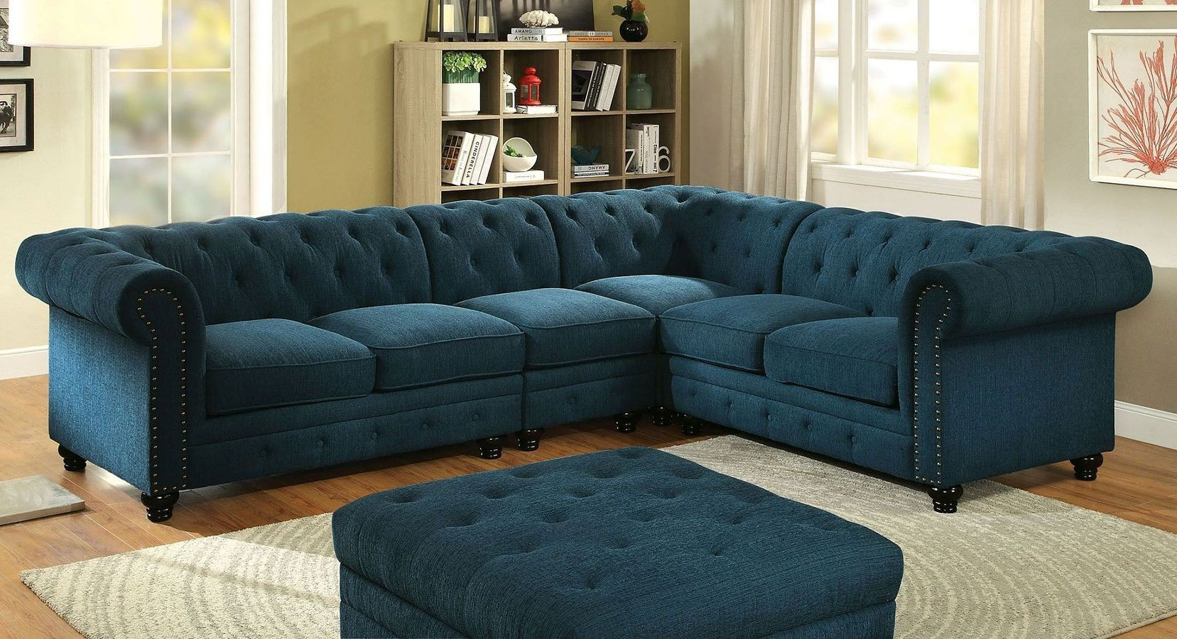 Stanford Sectional Living Room Set Teal By Furniture Of