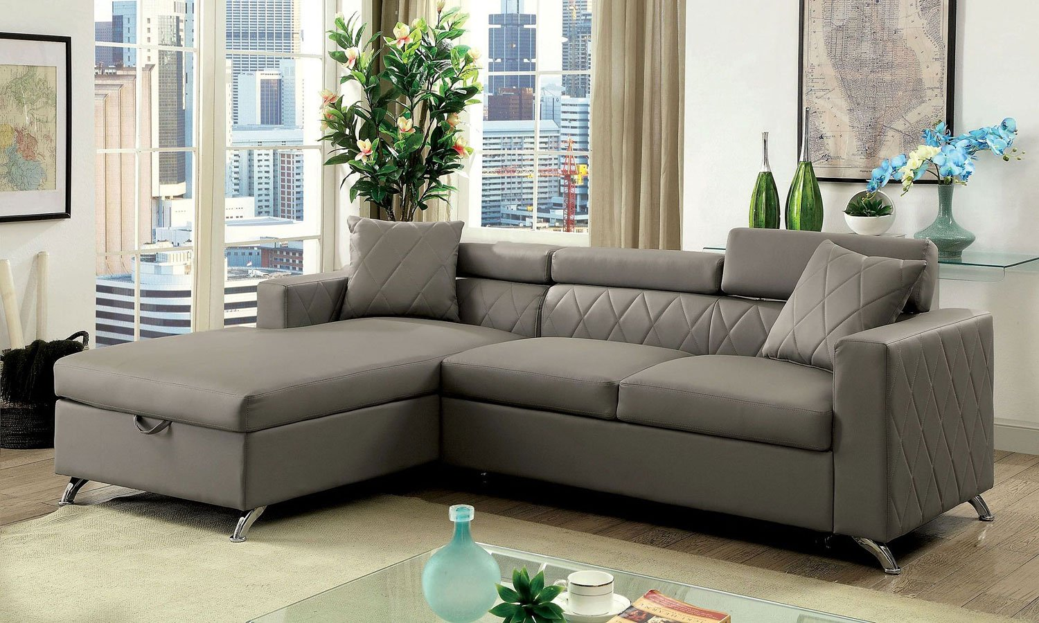 Dayna Sectional W Pull Out Sleeper By Furniture Of America Furniturepick