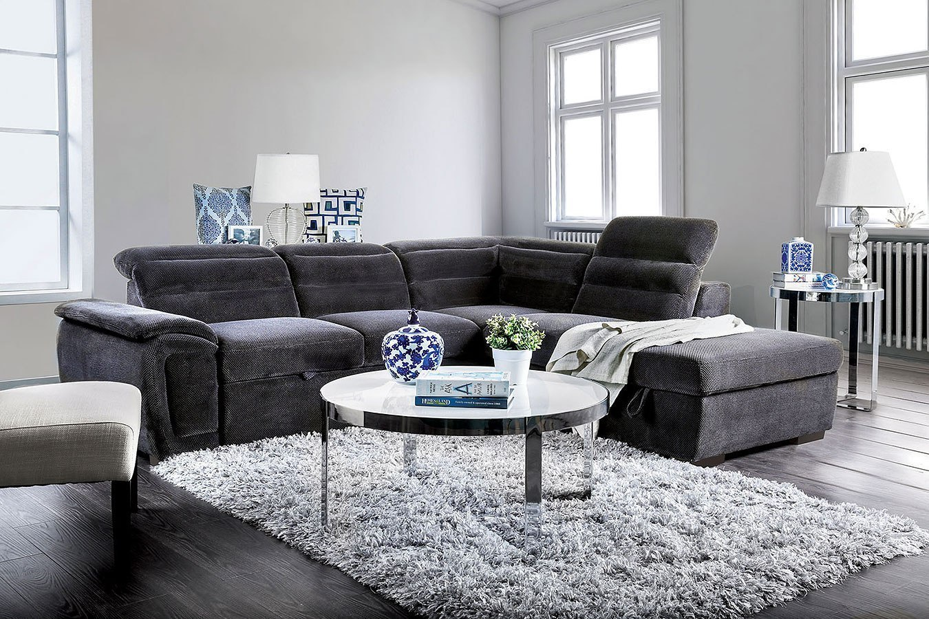 Felicity Sectional W/ Pull Out Sleeper (Dark Gray) By