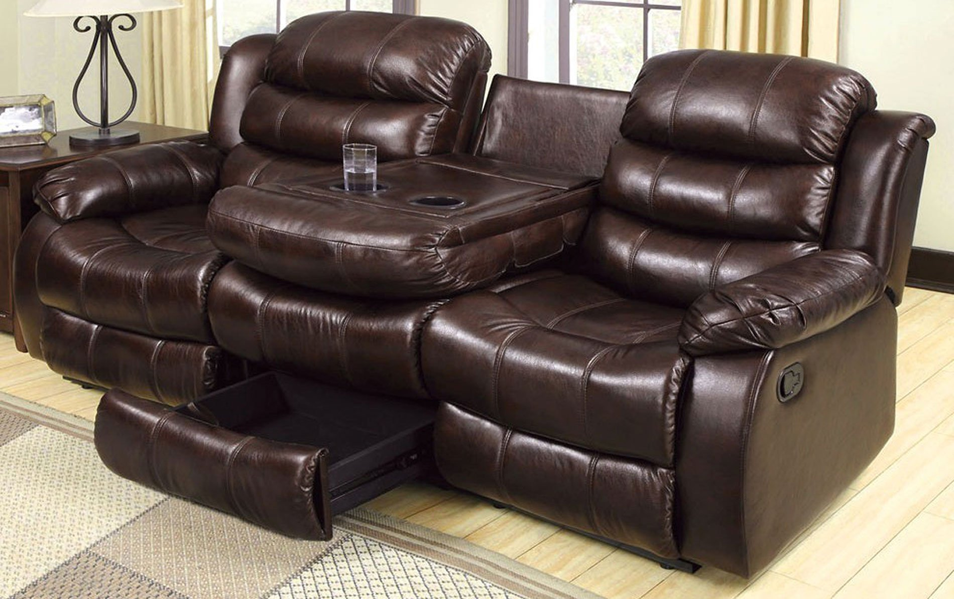 Magnificent Berkshire Reclining Sofa W Flip Down Table Ocoug Best Dining Table And Chair Ideas Images Ocougorg
