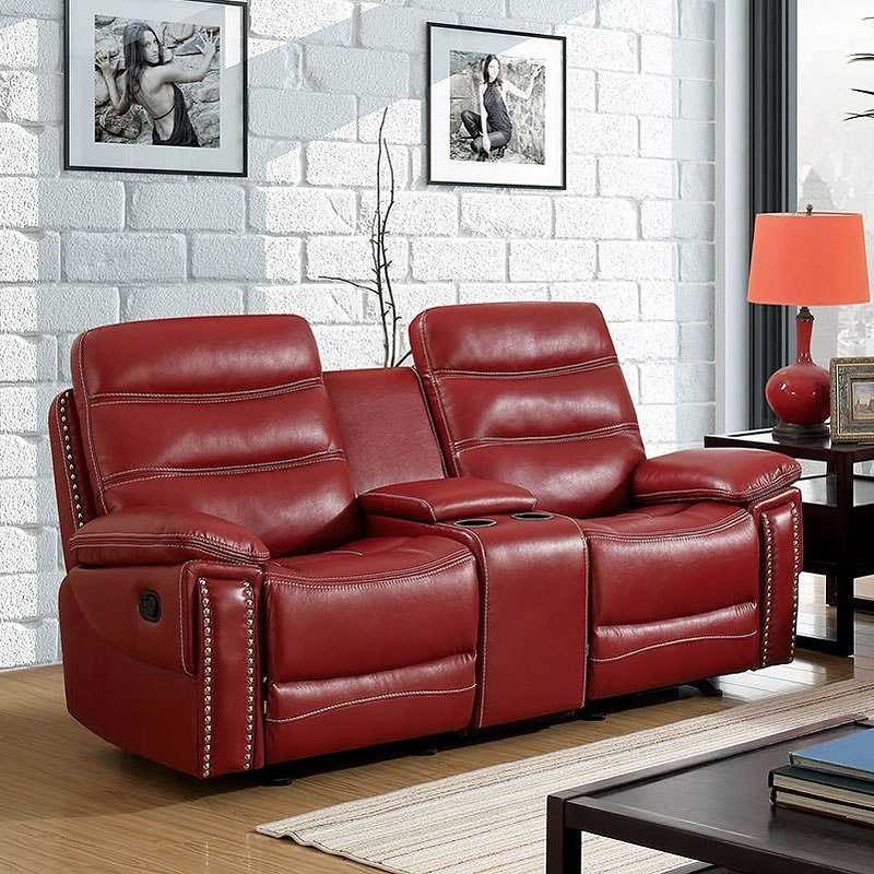 Cavan Reclining Loveseat W Console Red By Furniture Of America
