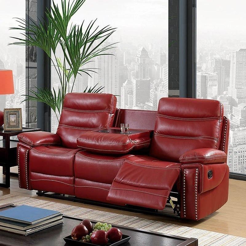 Cavan Reclining Sofa W Drop Down Center Red
