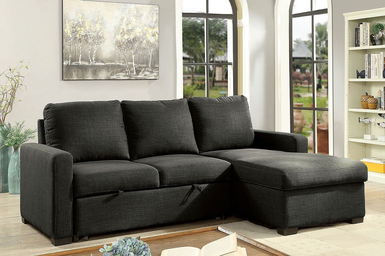 Arabella Sectional W/ Pull Out Sleeper (Dark Gray) By