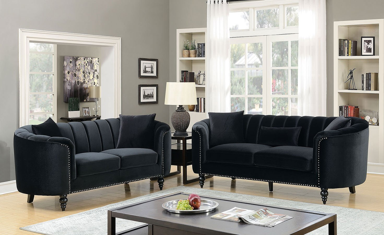 Linnea Living Room Set (Black) by Furniture of America | FurniturePick