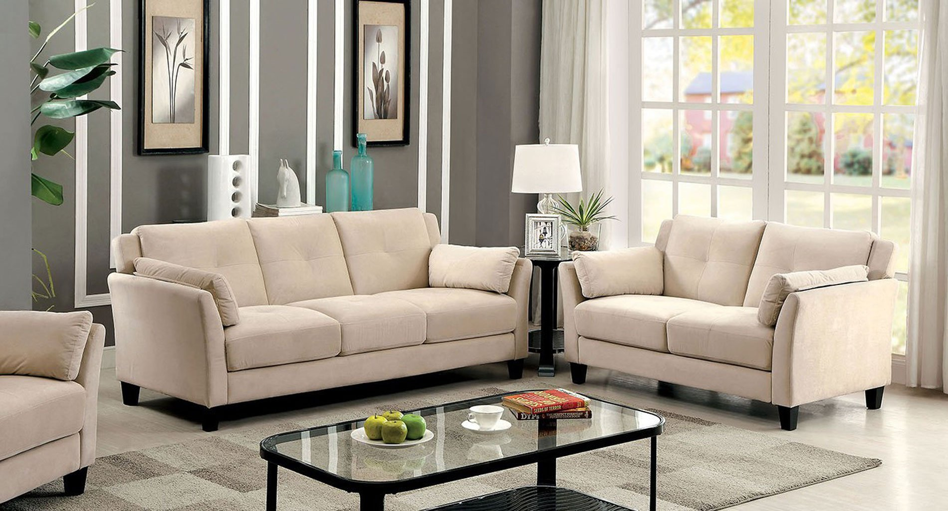ysabel living room set beige by furniture of america furniturepick. Black Bedroom Furniture Sets. Home Design Ideas