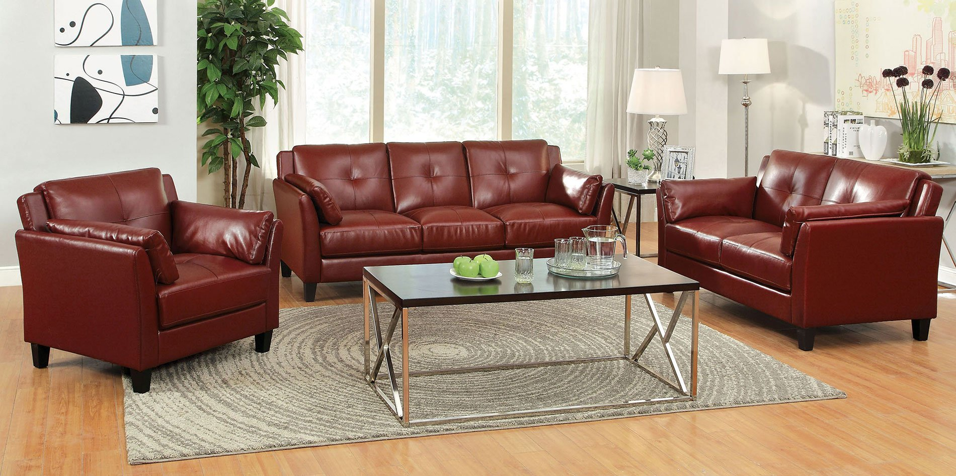 Pierre Living Room Set (Mahogany Red) by Furniture of America ...