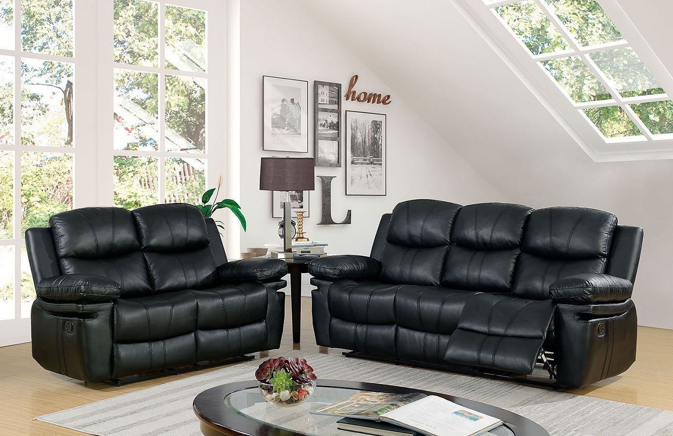Listowel Reclining Living Room Set (Black)