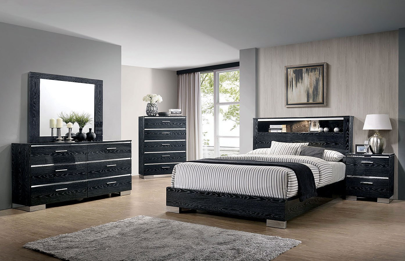 Malte Bookcase Bedroom Set Black