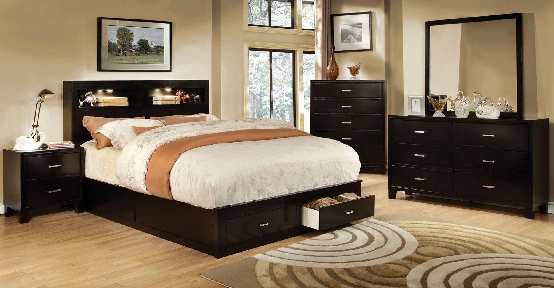 Enrico bedroom set w gerico storage bed espresso by furniture of america furniturepick
