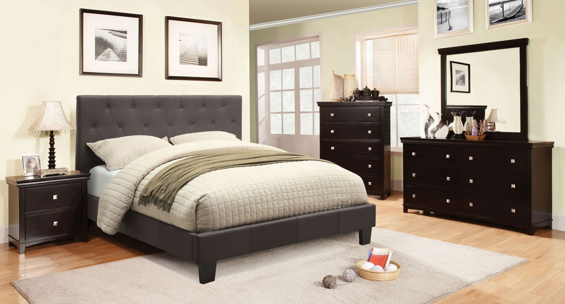 Spruce Bedroom Set W/ Gray Leeroy Bed By Furniture Of
