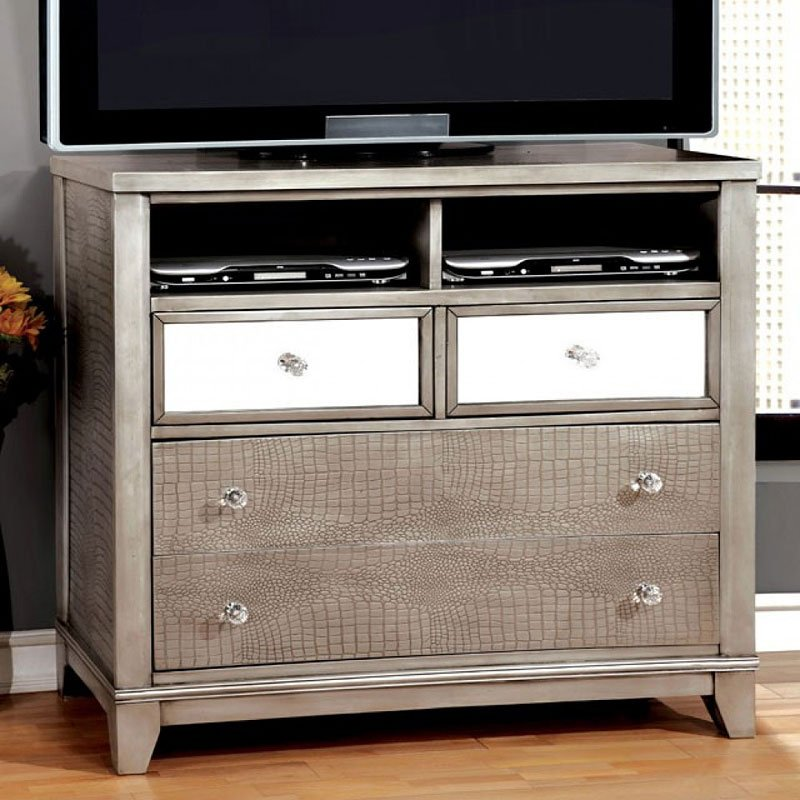 Bryant Tv Stand Silver Media Chests Media Cabinets Tv Chests Bedroom Furniture Bedroom