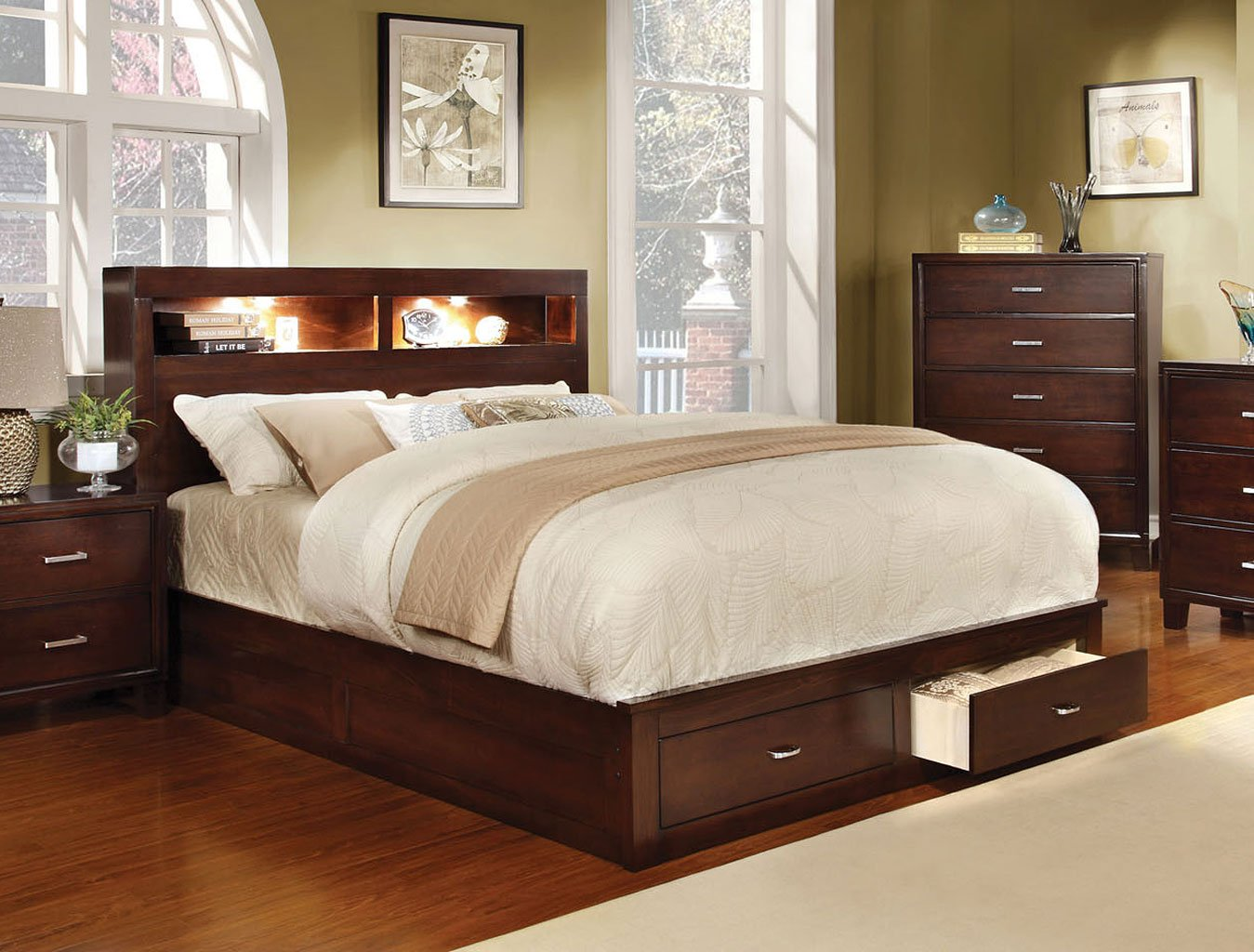 Enrico Bedroom Set w/ Gerico Storage Bed (Brown Cherry) by Furniture ...