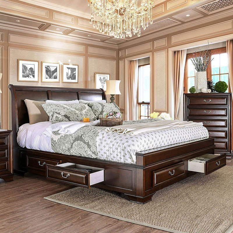 Brandt Storage Bed (Brown Cherry) (Queen) By Furniture Of America