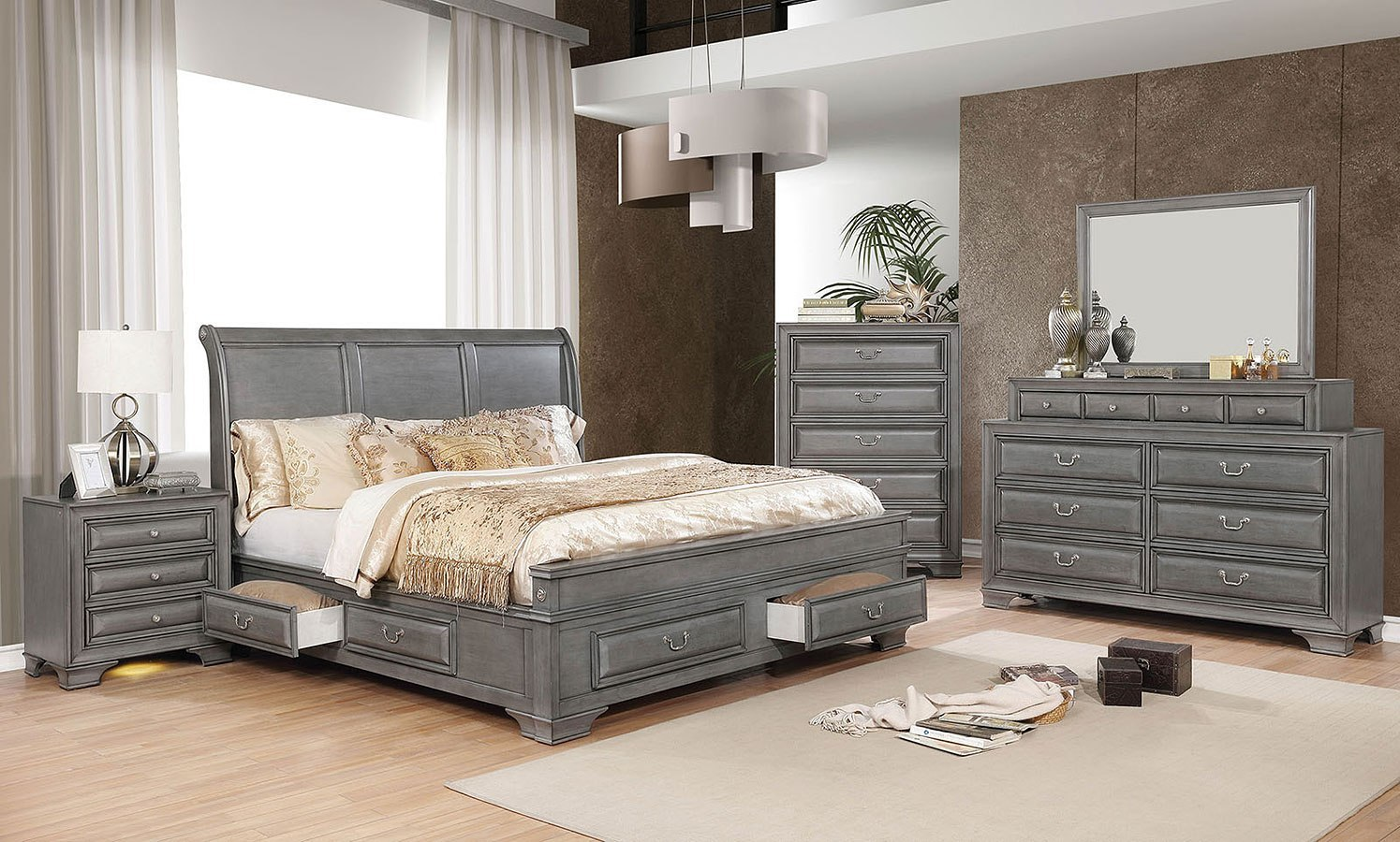 Brandt Storage Bedroom Set (Gray)
